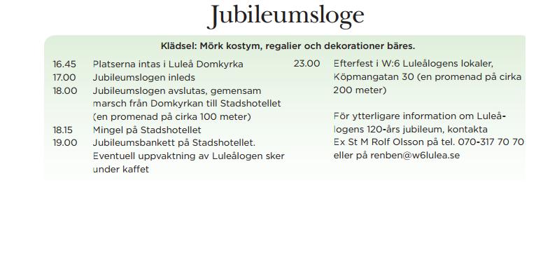 Program för W6 Luleålogen 120
